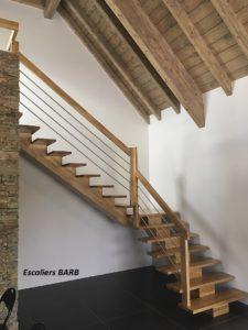 escalier bois, chêne massif, crémaillère centrale, garde corps inox