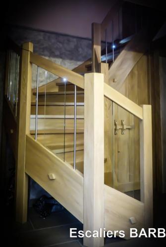 escalier sapin brossé