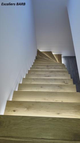 escalier bois suspendu vieux chêne