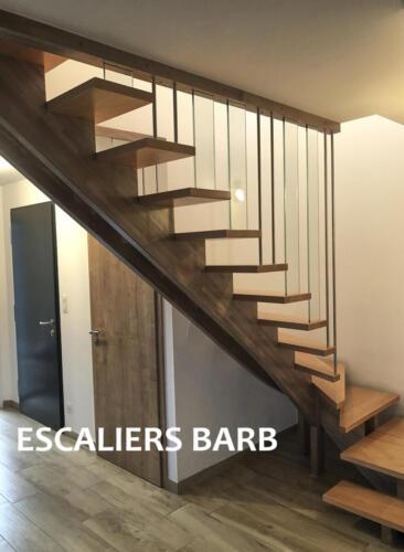escalier moderne a crémaillère avec verre et inox